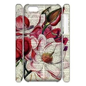 Vintage Flower Watercolor Unique Design 3D Cover Case for ipod Touch 4 ,custom cover case ygtg587546