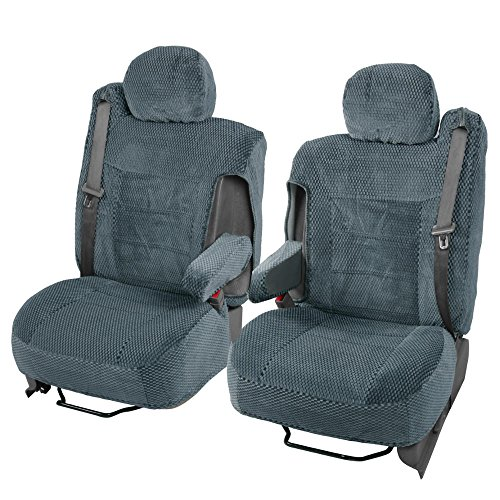 - Scottsdale Cloth Front Seat Covers for Trucks SUV Integrated Armrest TS (Charcoal Gray)