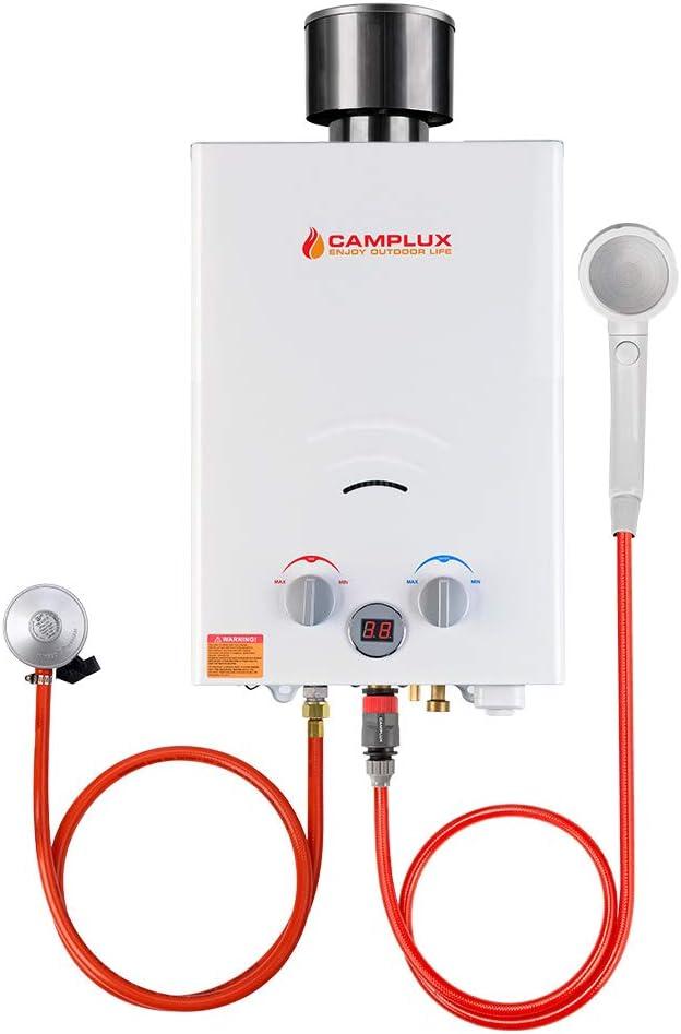 Camplux BW158C Calentador de Agua de Gas sin Tanque con Tapa de lluvia, Norma GAR certificada CE, 6L / min, para el Viaje, RV, Campamento, Caballos