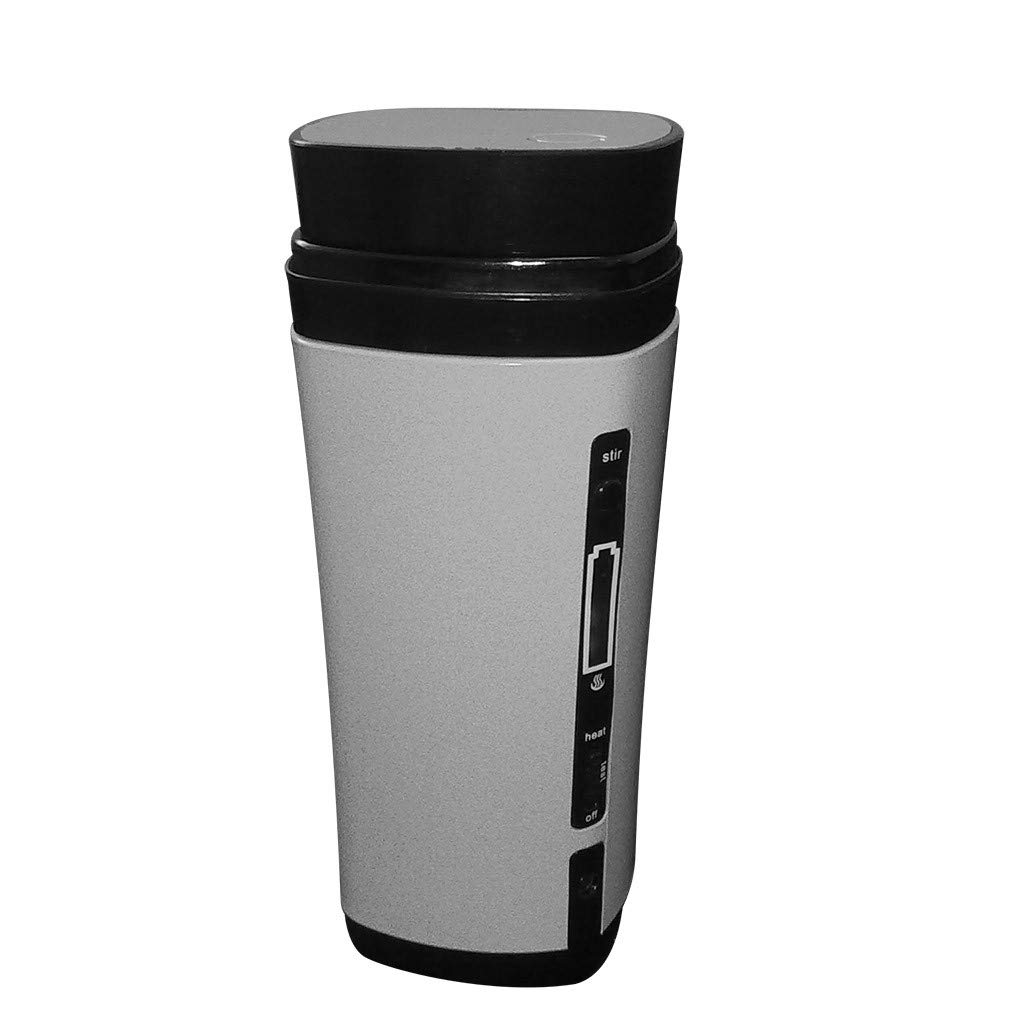 Mini Colorful Travel Coffee Maker Portable Automatic Mixing Heating USB Coffee Cup (Silver)