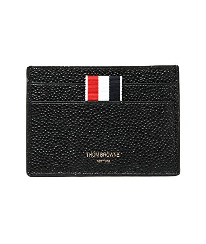 wiberlux-thom-browne-mens-pebbled-real-leather-striped-logo-print-card-holder-one-size-black