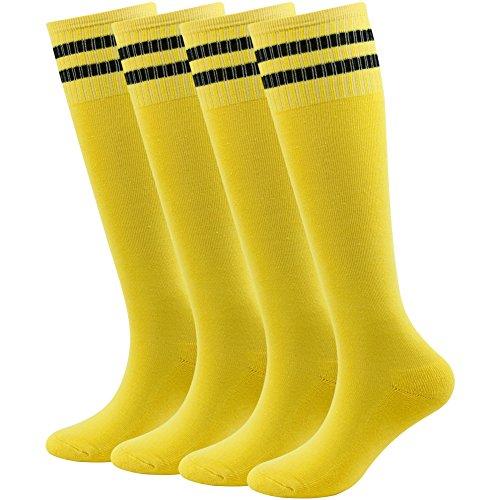 Soccer Socks Boys Lucky Commerce Teens Girls Cotton Knee Long Team Socks Children Sport 4 Pairs Blue