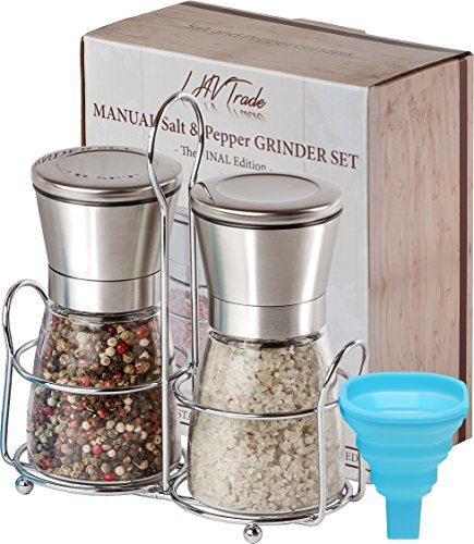 LHVTrade Salt and Pepper Grinder Set - Upgraded Luxury Brushed Stainless Steel Mills with Matching Stand | Adjustable Coarseness | - Easy Fill Folding Funnel and an eBook (Matching Grinders)
