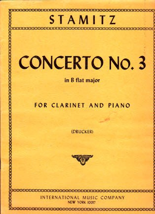 Concerto No. 3 in B flat major for clarinet and piano (Drucker)