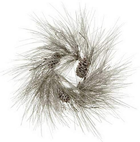 Mikash 24 Artificial Snowy Long Needle Pine Pinecone Hanging Wreath -Snow (Pack of 2 | Model WRTH - 475 ()
