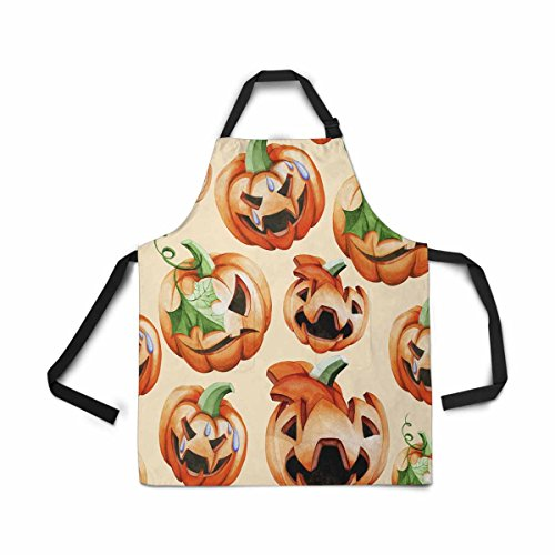 InterestPrint Treat Pumpkin Apron Kitchen Cook for Women Men Girls Chef with Pockets, Halloween Harvest Funny Adjustable Bib Baking Paint Cooking Apron Dress