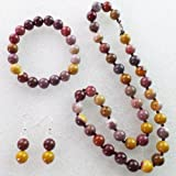 Mookaite Gem Round Necklace & stretchy bracelet & Earrings Set