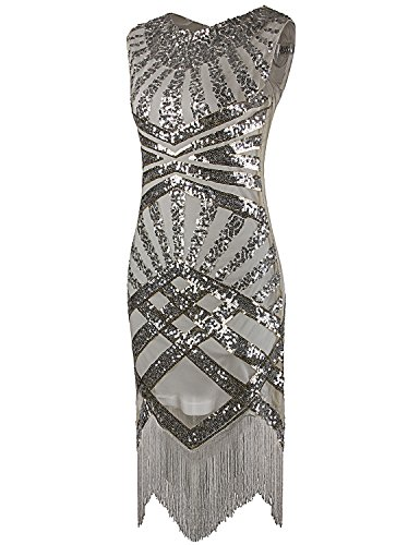 Vijiv Women 1920s Gastby Sequin Art Nouveau Embellished Night Out & Cocktail Dress Silver and Beige Medium