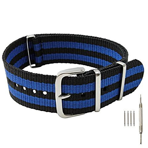 22mm Black and Blue Nylon Replacement Watch Band with Free Installation Kit Including 4 Spring Bars and Removal Tool - (Pebble Steel Black Watchband)