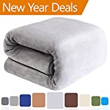 Balichun 330GSM Fleece Lightweight Queen Bed Blanket - Linen