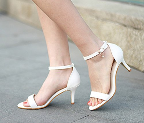 echte Zhhzz Weiß Party Spitzige EIN Charakter Classic Comfort Schuhe Heels Sandalen Schnalle Hochzeit LIANGXIE High Super Damen formal sexy Series qUXS0Hw