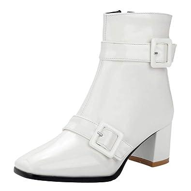 5ebf117beaee9d Kittcatt Femme Botte Vernis à Talon Bloc Bottine avec Boucles Ankle Boots Chunky  Heels Zip Hiver Winter Chaussure: Amazon.fr: Chaussures et Sacs