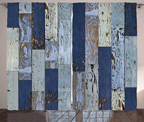 (Meet 1998 Wood Print Curtains, Old Rough Wooden Planks with Weathered Look Rustic Log Cabin Door Image, Living Room Bedroom Window Drapes 2 Panel Set, Navy Blue (52