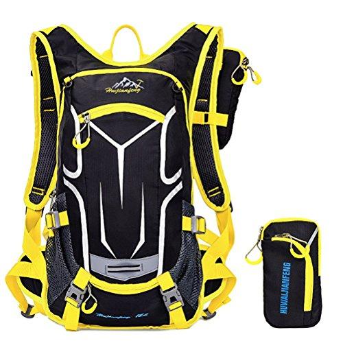 SHTH Herren Damen Fahrrad Reise Wander Rucksack Backpacks Trekking Camping Rucksäcke Radfahren Schultertaschen,49*25*18cm,18L (Gelb)