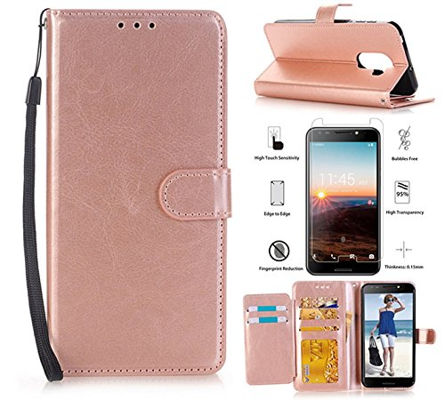 T-Mobile REVVL (Not Fit REVVL Plus) Case, Alcatel A30 Plus/Alcatel Walter/Alcatel A30 Fierce Case with Screen Protector,L00KLY [Kickstand] Magnetic Flip PU Leather Wallet with 5 Card Slots (Rose Gold)
