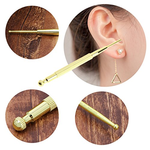 BKID Ear and Body Point Probe Stimulator Elastic Copper Auricular Exploration Detection Point Pen Ear Massage