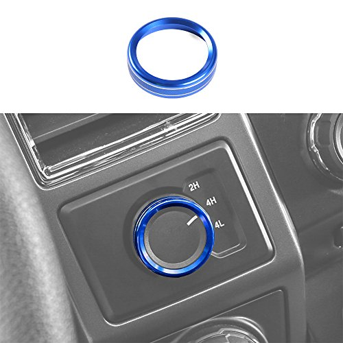 Voodonala Aluminum Alloy Car Inner 4WD Switch Knob Ring Trim Cover for Ford F150 XLT 2016 2017(Blue)