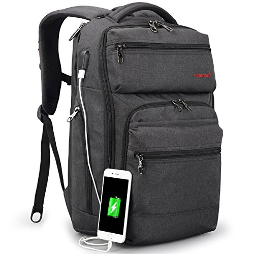 TIGERNU Business Backpack fits 15.6 Inch laptop/notebook Computer Backpack with USB Charging Port/ Water Resistant/ Tear Resisting/ Lightweight Travel Bag (Dark Gray) by TIGERNU
