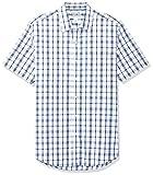 Amazon Essentials Men's Slim-Fit Short-Sleeve Casual Poplin Shirt, White/Blue Plaid, Medium