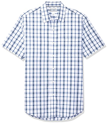 Amazon Essentials Men's Slim-Fit Short-Sleeve Casual Poplin Shirt, White/Blue Plaid, -