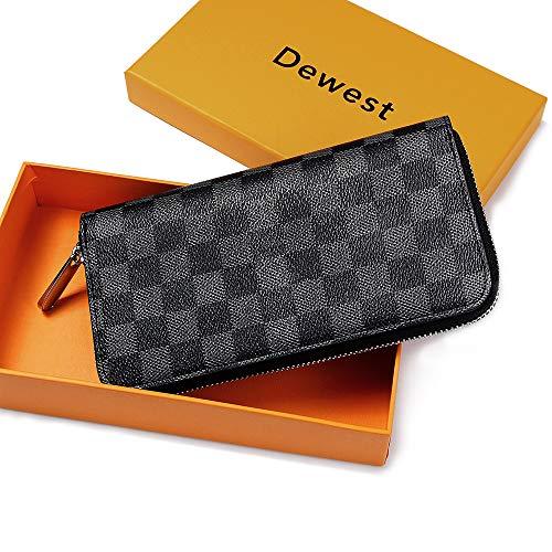 RFID Blocking Wallets for Women, Checkered Clutch Travel Wallet Zip Around with Multi Card Phone Passport Holder Organizer