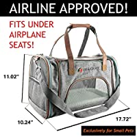 Ess And Craft Pet Carrier Airline Approved | Side Loaded Travel Bag With Sturdy Bottom & Fleece Cushion | Ventilated Pouch With Faux Leather Top Handle & Zipper Locks | For Dogs, Cats, & Small Pets