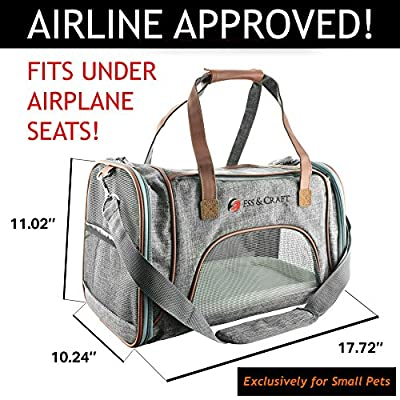 Ess And Craft Pet Carrier Airline Approved   Side Loaded Travel Bag With Sturdy Bottom & Fleece Cushion   Ventilated Pouch With Faux Leather Top Handle & Zipper Locks   For Dogs, Cats, & Small Pets