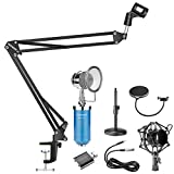 Neewer 5-in-1 Condenser Microphone and Accessory Kit: NW-1500 Desktop Condenser Microphone (Blue), NW-35 Mic Suspension Boom Scissor Arm Stand,NW(B-3) Pop Filter Mask Shield and USB 2.0 Sound Adapter