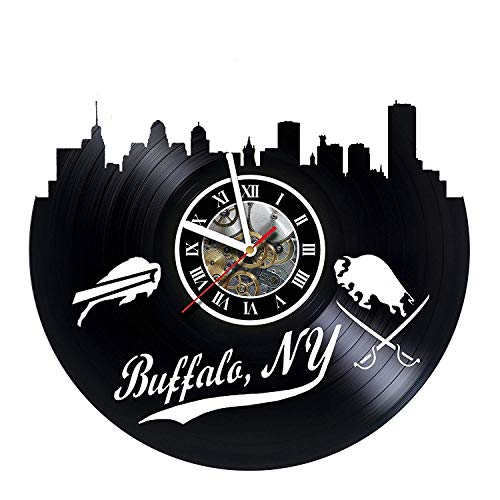 (Buffalo Bills - Football Team - Wall Clock Made of Vinyl Record - Decor Original Design - Great Gifts idea for Birthday, Wedding, Anniversary, Women, Men, Friends, Girlfriend Boyfriend and Teens)
