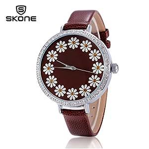Hot Selling Leather Geneva Rose Flower Watch Luxury Brand Solid Analog Rhinestone Watch Women (Brown)
