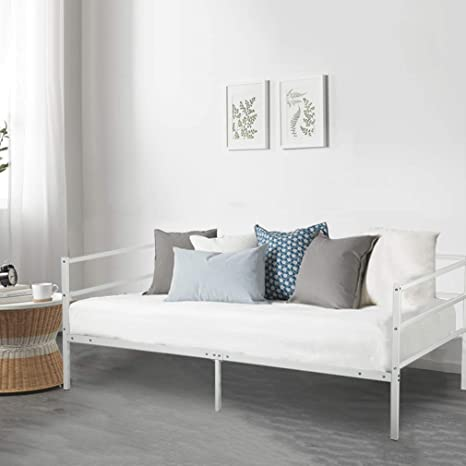 Daybed Frame Twin Steel Slats Platform Metal Daybed Base Box Spring Replacement Children Bed Sofa Living Room Guest Room White,Mattress Not Include by Best Massage