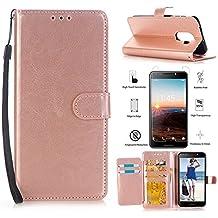 T-Mobile REVVL 5049W Case,Alcatel A30 Fierce 2017 Case,Alcatel A30 Plus Walters Case, L00KLY [Kickstand] [Card Slot] Magnetism Flip PU leather Wrist Strap wallet Case with Screen Protector (Rose Gold)