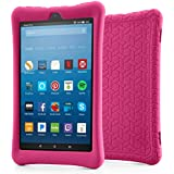 BLUEWIND Silicone Case Case Fire HD 8 2017, Anti Slip Light Weight Shockproof Soft Silicone Protective Case Cover All-New Fire HD 8 Tablet Alexa (7th Gen 2017 Model) Tablet Blue (Rose)