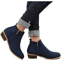Boots Femme Talon Bottine Femmes Hiver Daim Cuir Bottes Chelsea Low Chic Cheville Compensées Grande Taille Chaussures 3cm Bleu Marron Noir 35-43