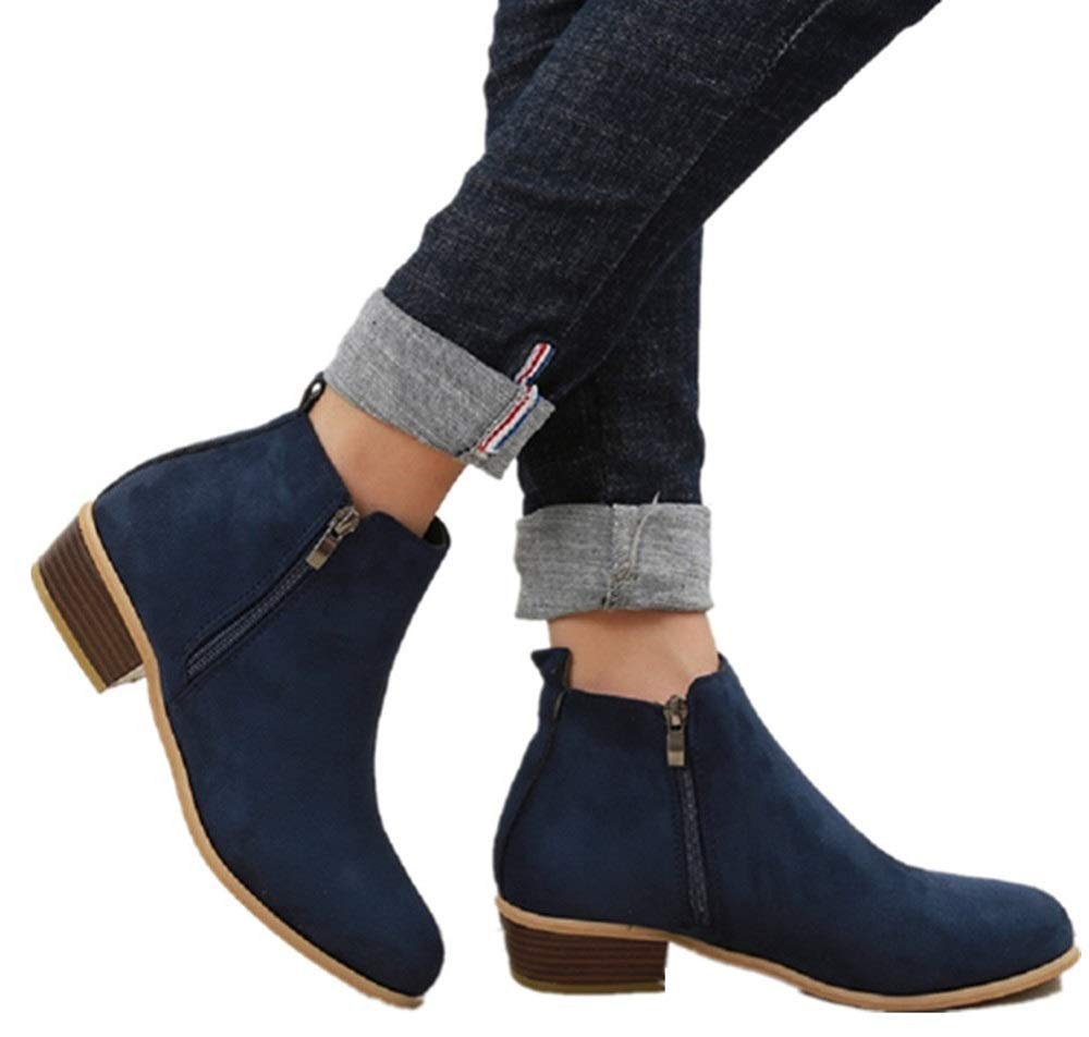 Boots Femme Talon Bottine 3cm Femmes Hiver 17716 Daim Cuir B01EL99SC6 Bottes Chelsea Low Chic Cheville Compensées Grande Taille Chaussures 3cm Bleu Marron Noir 35-43 Bleu 5d749a6 - automaticcouplings.space