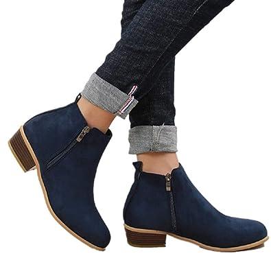 544d825fa4be Hafiot Stiefeletten Damen mit Absatz Ankle Boots für Damen Chelsea Winter  Kurzschaft Wildleder Leder Reissverschluss 3cm