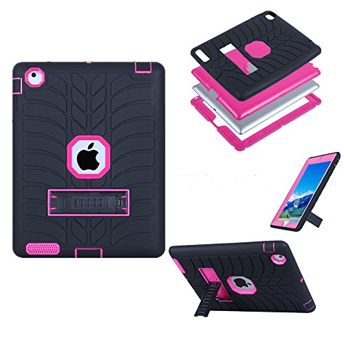 ase,iPad 4 Case, KAMII 3in1 Hybrid Shockproof & High Impact Resistant Armor Defender Full Body Protective Rugged Case Cover with Kickstand for Apple iPad 2/3/4 (Black+Rose) ()
