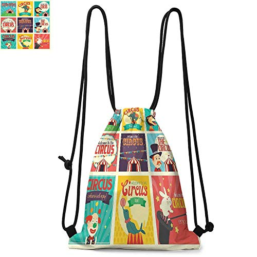 Circus Made of polyester fabric Collection of Old Circus Icons Carnival Magicians Old Fashioned Nostalgic Festive Waterproof drawstring backpack W13.8 x L17.7 Inch Multicolor