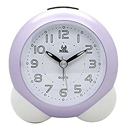 Non Ticking Analog Alarm Clock with Nightlight and Snooze, Kaimao Small Travel Clocks AA Battery Powered (Purple)