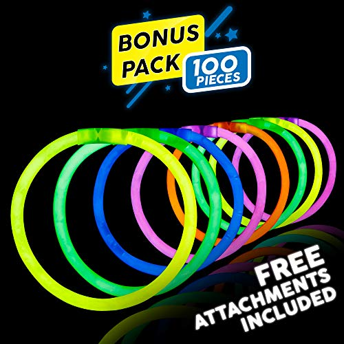 Lumistick 8 Inch 100 Pack Glow Sticks - Bendable Glow Sticks with Necklace and Bracelet Connectors - Glowstick Bundle Party Bracelets Best for Parties, Events and Holidays (Assorted, 100) -