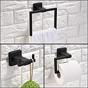 Turs 3-Piece Bathroom Accessory Set SUS 304 Stainless Steel RUSTPROOF Toilet Paper Holder Towel Bar/Holder Robe Hook Wall Mount, Matte Black, Q6008BK