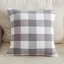 Gray and White Buffalo Check Plaids Soft comfortable Cotton Throw Pillow Case Cushion Cover for sofa 18 X 18 Inches both sides (gray)
