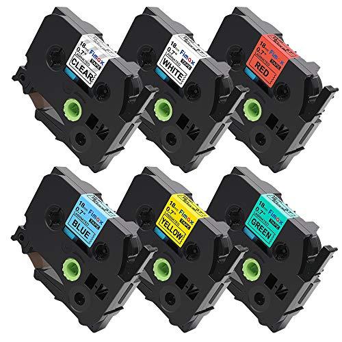 Compatible Brother TZe-141 TZe-241 TZe-441 TZe-541 TZ-641 TZe 741 P-Touch Label Tape Combo Set for P-Touch PT-D210 PT-D200 PT-H100, 6-Pack 3/4 Inch (18mm) x 26.2 Feet (8m)