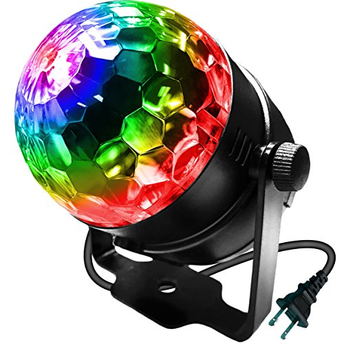 Disco Crystal Curtain (LED Stage Party Lighting, LOVIN PRODUCT 7 Color Changing Sound Active 3W RGB Auto Rotating Mini Crystal LED Dream Magic Ball for Disco DJ, Show, Xmas KTV, Wedding, Club Pub, Theater. (1 PACK))