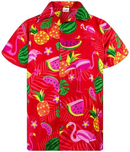 Funky Hawaiian Shirt, Shortsleeve, Flamingo Melon, Red, ()