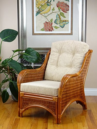 Jam Design Natural Rattan Handmade Wicker Light Brown Lounge Chair with Cream Cushion (Natural Furniture Wicker)
