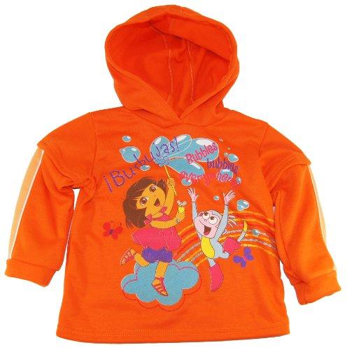 Dora The Explorer Little Girls' Warm Fleece Hooded Jacket with Pants 2Pc Set 6Orange