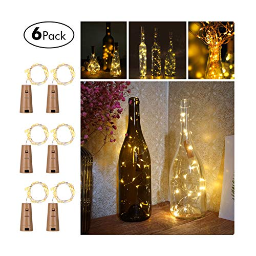 Wine Bottles String Lights, GardenDecor 6 Packs Micro Artificial Cork Copper Wire Starry Fairy Lights, Battery Operated Lights for Bedroom, Parties, Wedding, Decoration(6 Packs 2m/7.2ft Warm White) (Centerpieces Dining Table Cool)