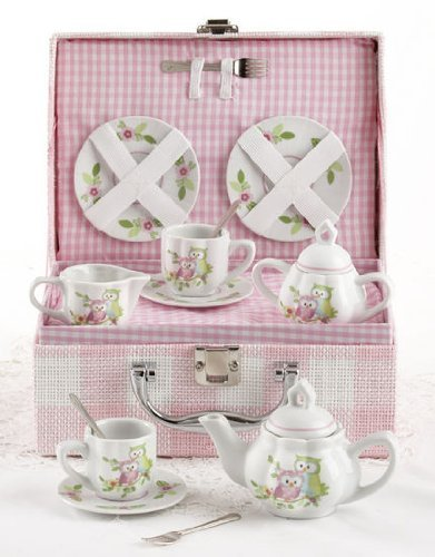 Delton Products Owls Children's Tea Set with Basket (Childrens Tea Set Basket)