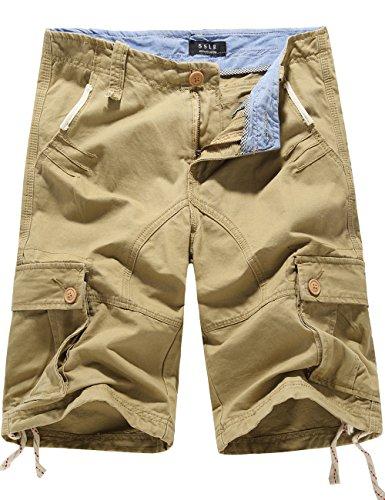 SSLR Men's Summer Solid Cotton Outdoor Wear Regular Fit Casual Cargo Shorts (40, Khaki)